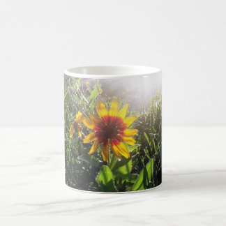 Gelbe Blumenrückseite Lite bis zum Sun. Kaffeetasse