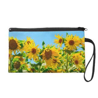Gelbe Blumensonnenblumen Wristlet Handtasche