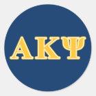 Gelbe Buchstaben Alphakappa-P/in Runder Aufkleber