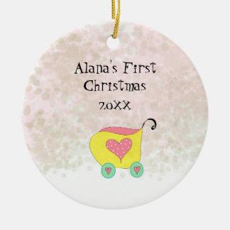 Gelbe Buggy Babys erstes Weihnachten Keramik Ornament
