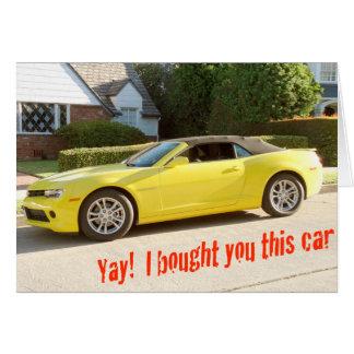 Gelbe CHEVY Camaro AUTO Karte