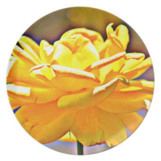 Gelbe chromatische Rosen-Melamin-Platte Teller