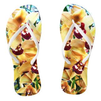 Gelbe Cymbidium-Orchideen Flip Flops