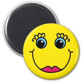 Gelbe Dame Smiley Runder Magnet 5,7 Cm