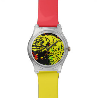 Gelbe Eidechse Armbanduhr