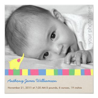 Gelbe Elefant-Geburts-Mitteilung Quadratische 13,3 Cm Einladungskarte