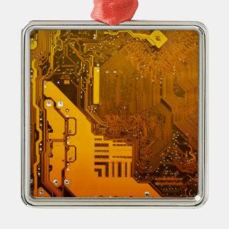gelbe elektronische Schaltung board.JPG Quadratisches Silberfarbenes Ornament