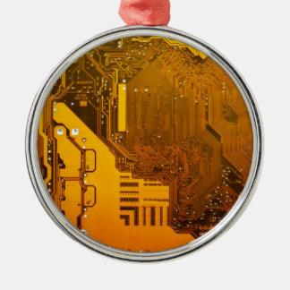 gelbe elektronische Schaltung board.JPG Rundes Silberfarbenes Ornament