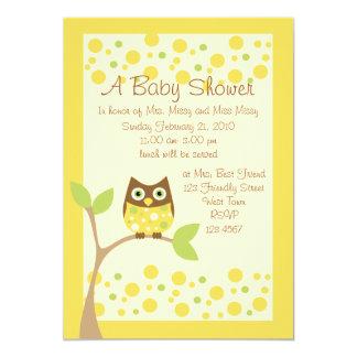 Gelbe Eulen-Babyparty-Einladung 12,7 X 17,8 Cm Einladungskarte