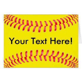 Gelbe Fastpitch Softball Custum Gruß-Karte Karte