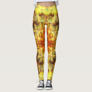 Gelbe Feuer-Mandala Leggings