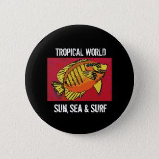 Gelbe Fisch-tropische Brandung (1517) Runder Button 5,7 Cm