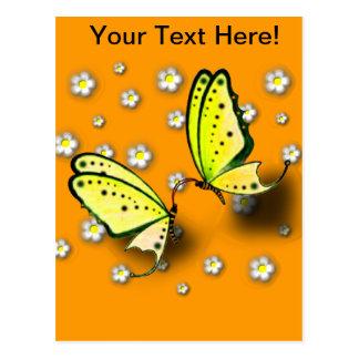 Gelbe Fracks und Gänseblümchen in 3D Postkarte