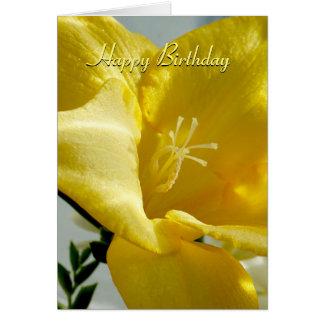 Gelbe Freesia-alles- Gute zum Geburtstagkarte Karte