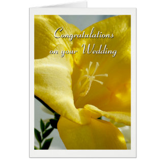 Gelbe Freesia-Hochzeits-Karte Karte