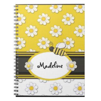 Gelbe Gänseblümchen-Bienen-gewundenes Notizbuch Spiral Notizblock