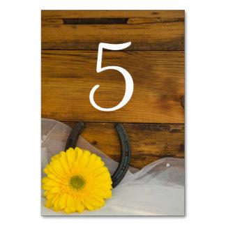 Gelbe Gänseblümchen-und Hufeisen-Wedding Karte