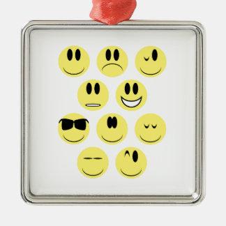 Gelbe Gesichts-Ikonen Quadratisches Silberfarbenes Ornament