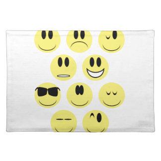 Gelbe Gesichts-Ikonen Tischset