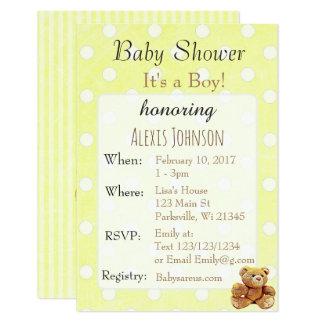 Gelbe Gestreifte Jungen Babyparty Einladungen Karte