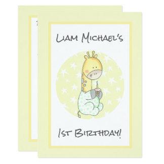 Gelbe Giraffe mit dem ersten Geburtstag des 12,7 X 17,8 Cm Einladungskarte