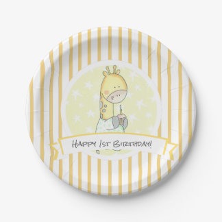 Gelbe Giraffen-Streifen mit Kuchen-zuerst Pappteller