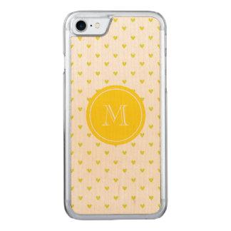 Gelbe Glitter-Herzen mit Monogramm Carved iPhone 8/7 Hülle