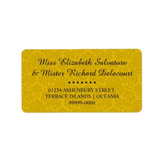 Gelbe gotische viktorianische adressaufkleber