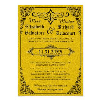 Gelbe gotische viktorianische Damast-Hochzeit lädt Karte