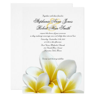 Gelbe hawaiische Plumeriafrangipani-Hochzeit Karte
