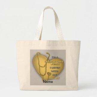 Gelbe Herzsorgfalt-Krankenschwester Jumbo Stoffbeutel