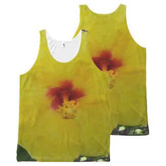 Gelbe Hibiskus-Blume Hawaiis Komplett Bedrucktes Tanktop