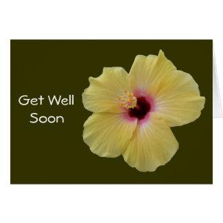 Gelbe Hibiskus-Blume Karte