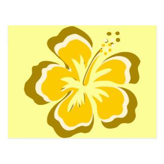 Gelbe Hibiskus-Blume Postkarte