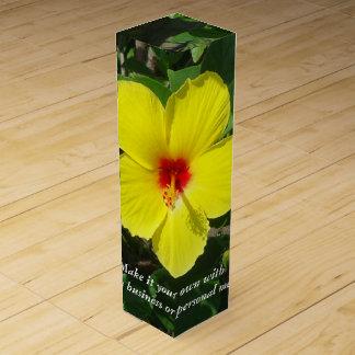 Gelbe Hibiskus-Gewohnheit Wein-Geschenkverpackung