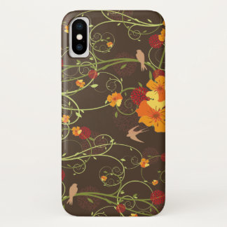 Gelbe Hibiskus-Wirbels-Schwalben-Vögel mit Blumen iPhone X Hülle