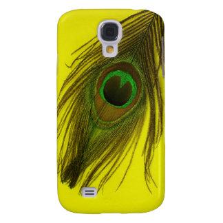 Gelbe Hintergrund-Pfau-Feder Galaxy S4 Hülle