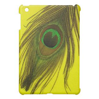 Gelbe Hintergrund-Pfau-Feder iPad Mini Hülle
