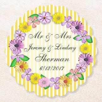 Gelbe Hochzeits-personalisierter Untersetzer