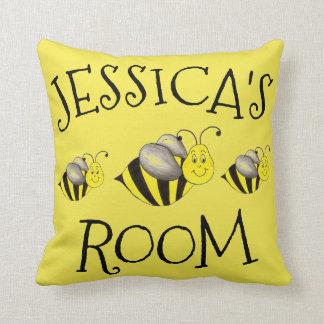 Gelbe Honig-Hummel-Bienen-Hummel personalisiert Kissen