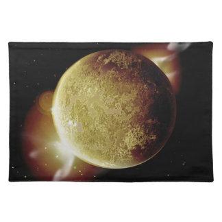 gelbe Illustration des Planeten 3d im Universum Tischset