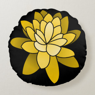 Gelbe illustrierte Lotos-Blume Rundes Kissen