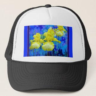 Gelbe Iris-azurblaue blaue Gartengeschenke durch Truckerkappe