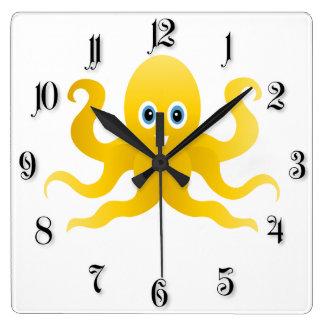 Gelbe Kraken des Spaßes Quadratische Wanduhr