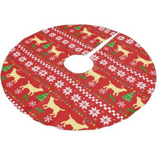 Gelbe Labrador-Geweih-hässliches Weihnachtsmuster Polyester Weihnachtsbaumdecke