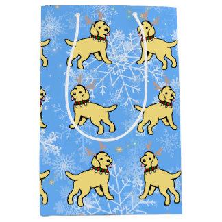 Gelbe Labrador-Geweih-Weihnachtsgeschenk-Tasche Mittlere Geschenktüte