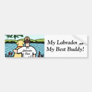 Gelbe Labrador- und Dad See-Ansicht 2 Autoaufkleber