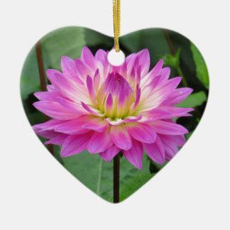 Gelbe lila Dahlie Keramik Herz-Ornament