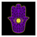 Gelbe lila Hamsa-Hand der Miriam-Hand von Fatima Poster