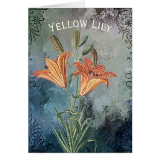 Gelbe Lilie auf Blau beunruhigtem Hintergrund Karte